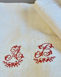 Antique French Metis Hand Woven Table Runner Red Monogram A B