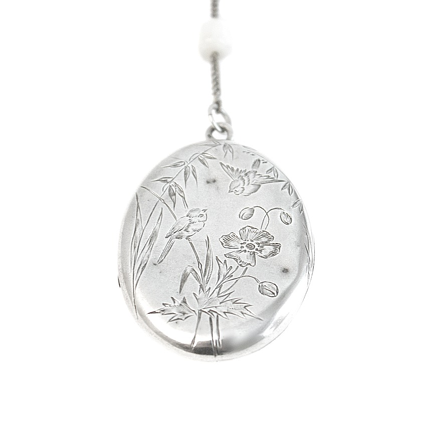 Antique Sterling Silver Bird Locket Mother of Pearl Necklace