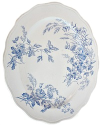 Antique Blue Aesthetic Floral Butterfly Large Platter