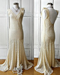 1920's French Alencon Lace Trumpet Wedding Evening Gown