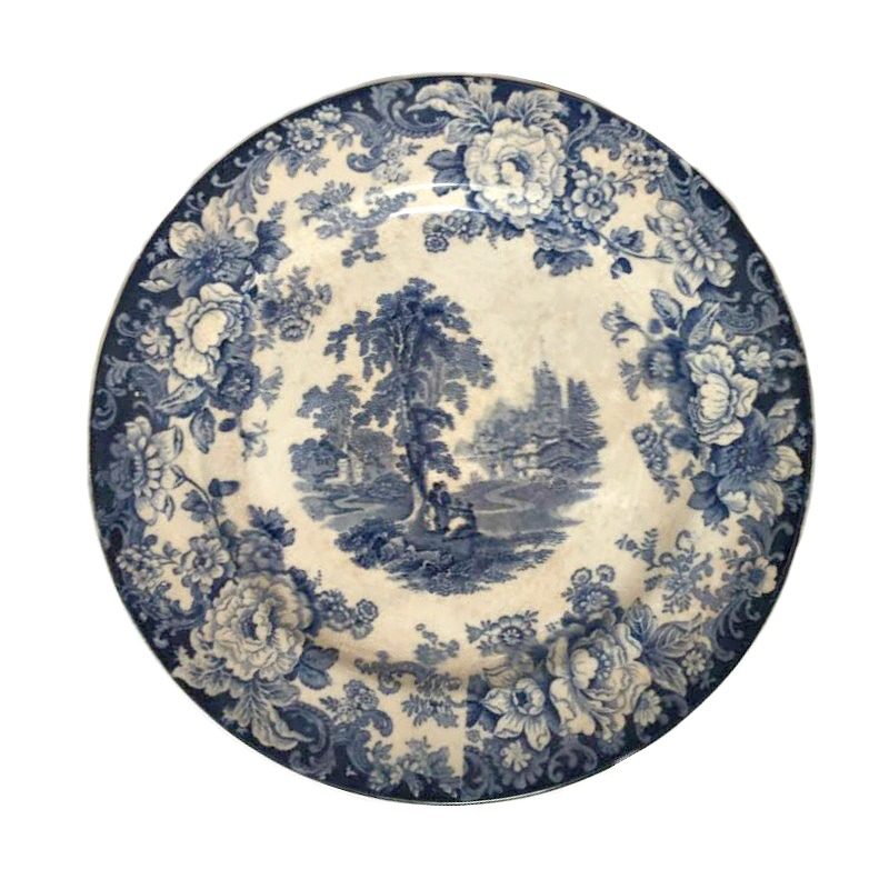 Antique Blue Transfer Printed Scenic Plate Allerton