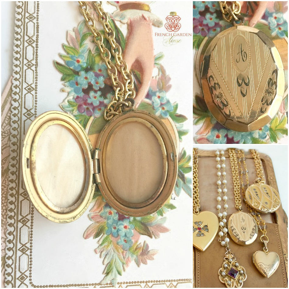 Antique Oval Floral Engraved Locket and Chain Necklace A