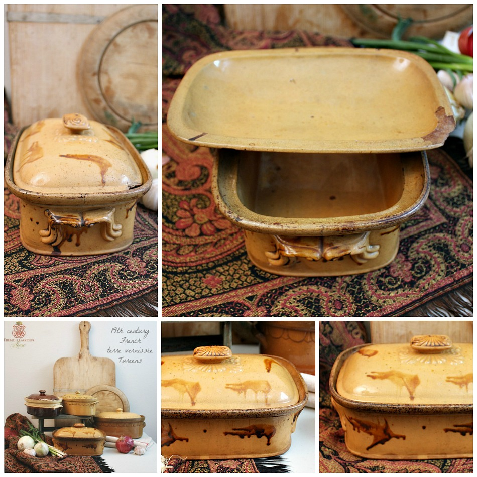 Antique French Country Yellow Glazed Pottery Tureen Large