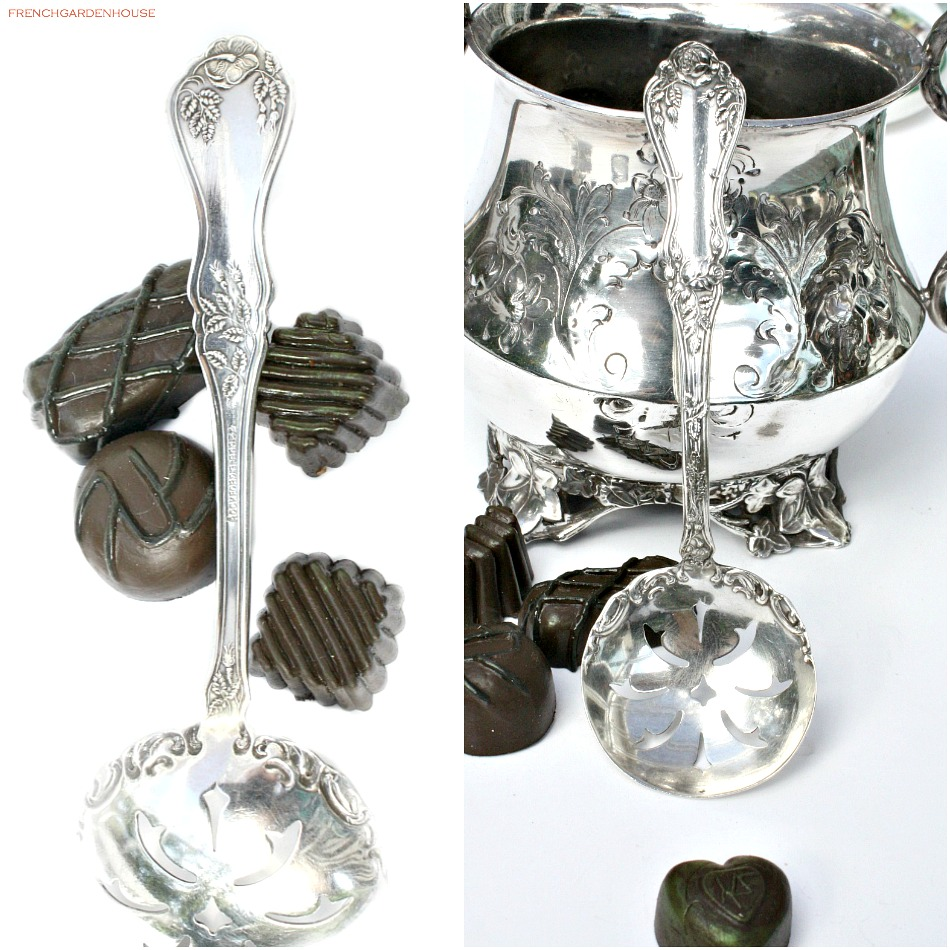 Antique Rockford Silver Plate Rose Pierced Chocolate Bonbon Spoon