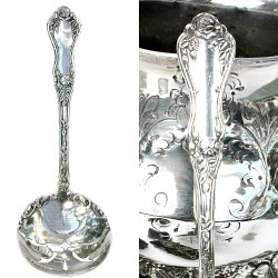 Antique Rockford Silver Plate Rose Pierced Chocolate Bonbon Spoon