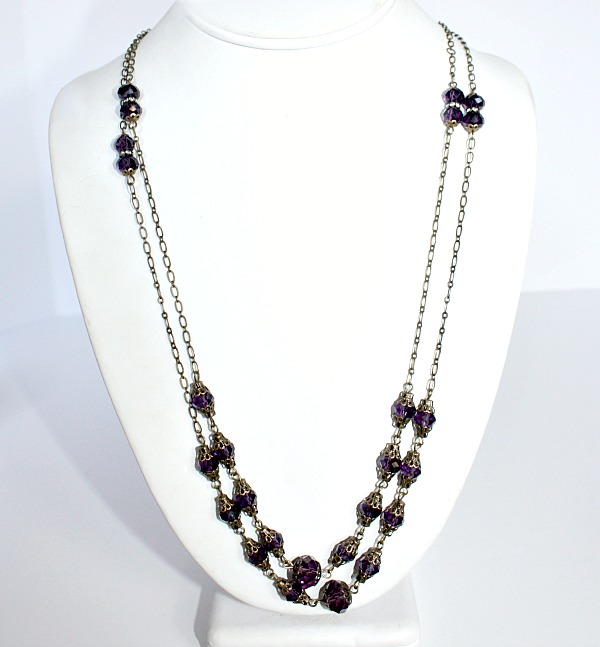 Duchess Purple Swarovski Rose Wrap Necklace