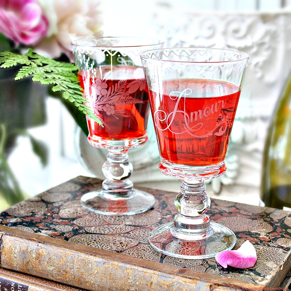Hand Made Floral Etched Amour Glass Wine Goblet Set of 2