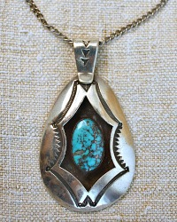 Vintage Sterling Navajo Turquoise Pendant Necklace Aaron Chischiligi