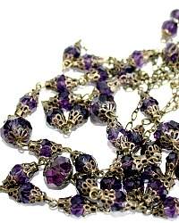 Royal Purple Swarovski Rose Downton Wrap Necklace