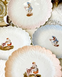Antique Victorian Carlsbad Figural Blossom Petal Plate Set of 4