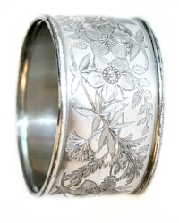 Antique Etched Wild Flowers Silver Napkin Ring