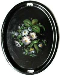 Antique Hand Painted French Country Tole Tray Shabby Black