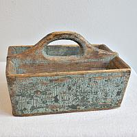 Antique Hand Made Wood Country Carrier Tote Original Paint