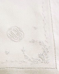 Exceptional Rare Damask Embroidered Tablecloth and 10 Napkins