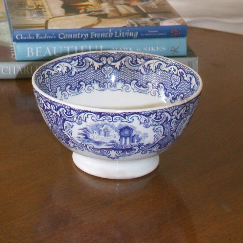 19th Century Antique Blue and White Transferware Serving Bowl