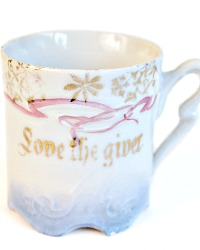 Antique Child's Love the Giver Pink & Blue Motto Cup