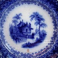 Antique English Decorative Flow Blue Chinoiserie Plate Mayer