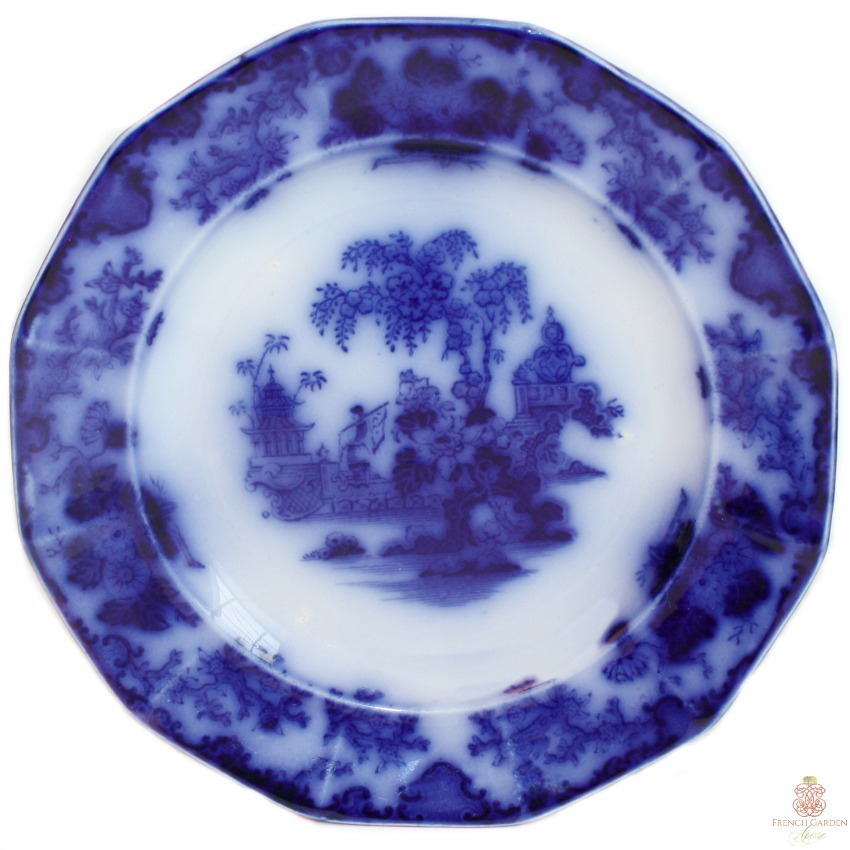 Antique English Decorative Flow Blue Chinoiserie Plate Alcock