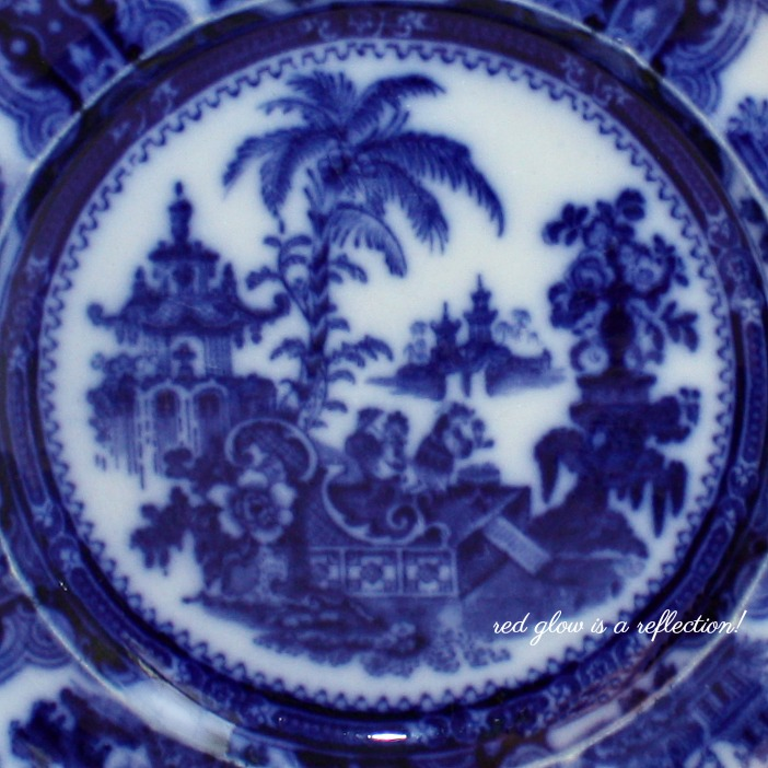 Antique English Decorative Flow Blue Chinoiserie Plate Adams