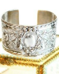 KDL Antique French Sterling Silver Crest Cuff Bracelet