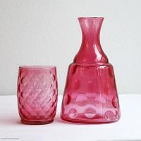 Antique Cranberry Glass Carafe and Tumbler