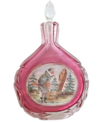Antique French or Viennese Austrian Enameled Cranberry Glass Scent Bottle