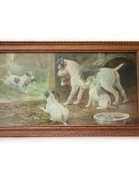 Antique Terrier Dogs Chromolithograph Framed Print