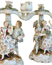 Antique Hand Painted German Figural Candelabra Pair