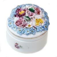 Miniature Porcelain Elfinware Flower Covered Box #6
