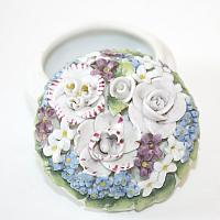 1920's Miniature Porcelain Elfinware Flower Round Covered Box