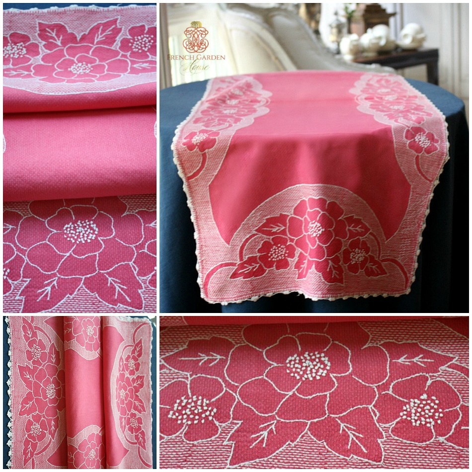 Hand Embroidered Bright Pink Floral Runner