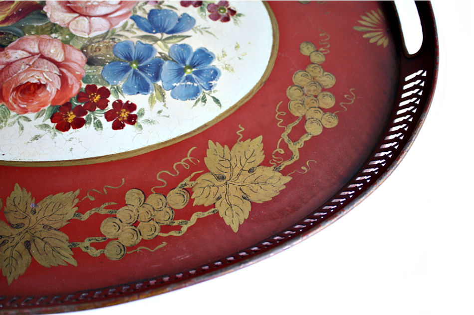 Exceptional Antique French Red Tole Peinte Red with Roses Tray