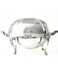 Antique English Silverplate Roll Top Breakfast Server