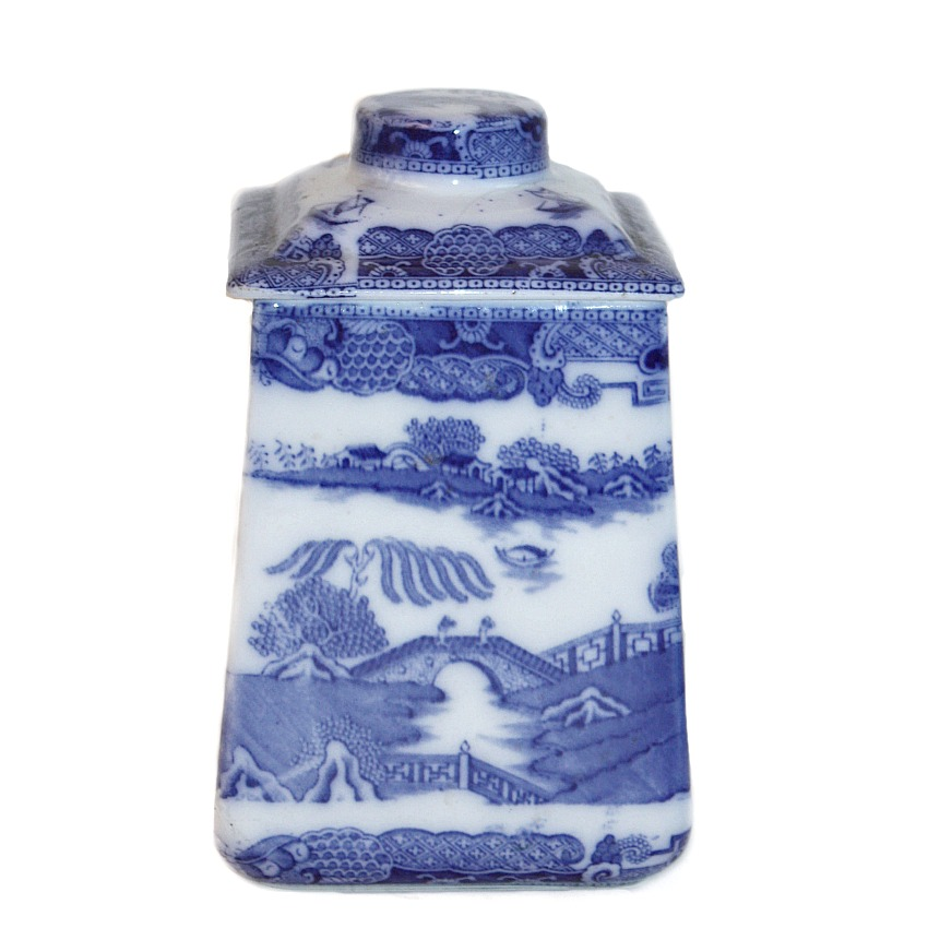 Antique English Blue and White Staffordshire Chinoiserie Tea Cannister