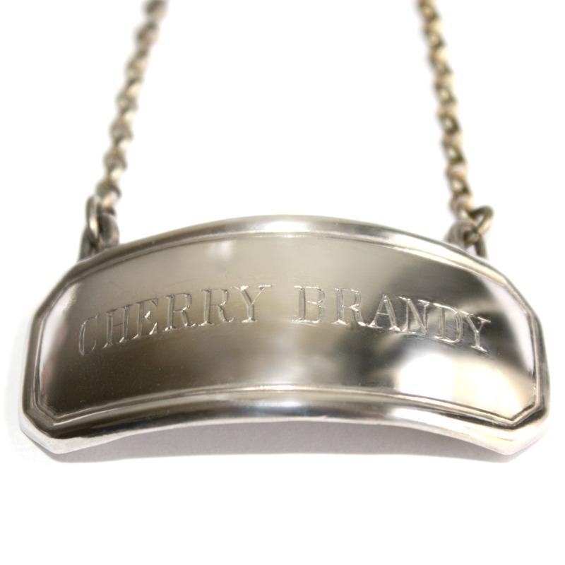Estate Silver Plate CHERRY BRANDY Decanter Label