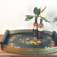 Antique Hand Painted Floral Wood Toleware Tray