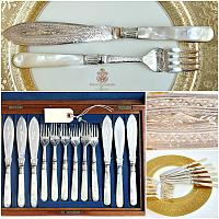 Antique English Mother of Pearl Cased Silver Fish Service Set for 6