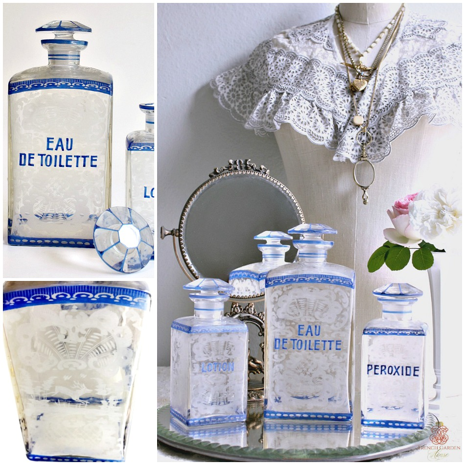 Irresistible Antique Bohemian Etched Glass Vanity Bottle Set of 3
