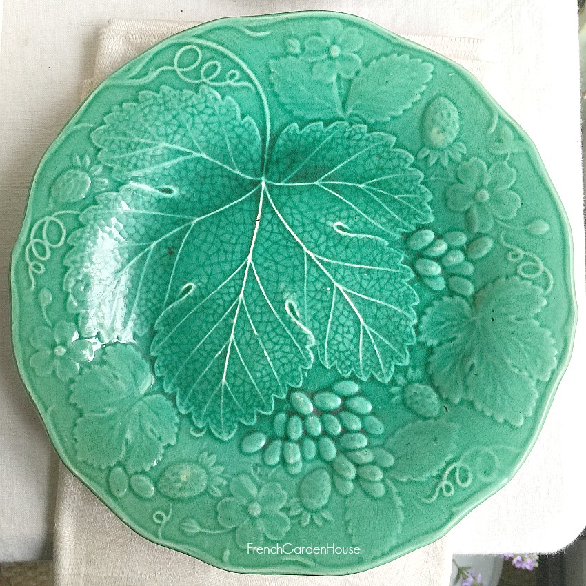 19th Century Majolica Vine and Strawberries Greenware Plate