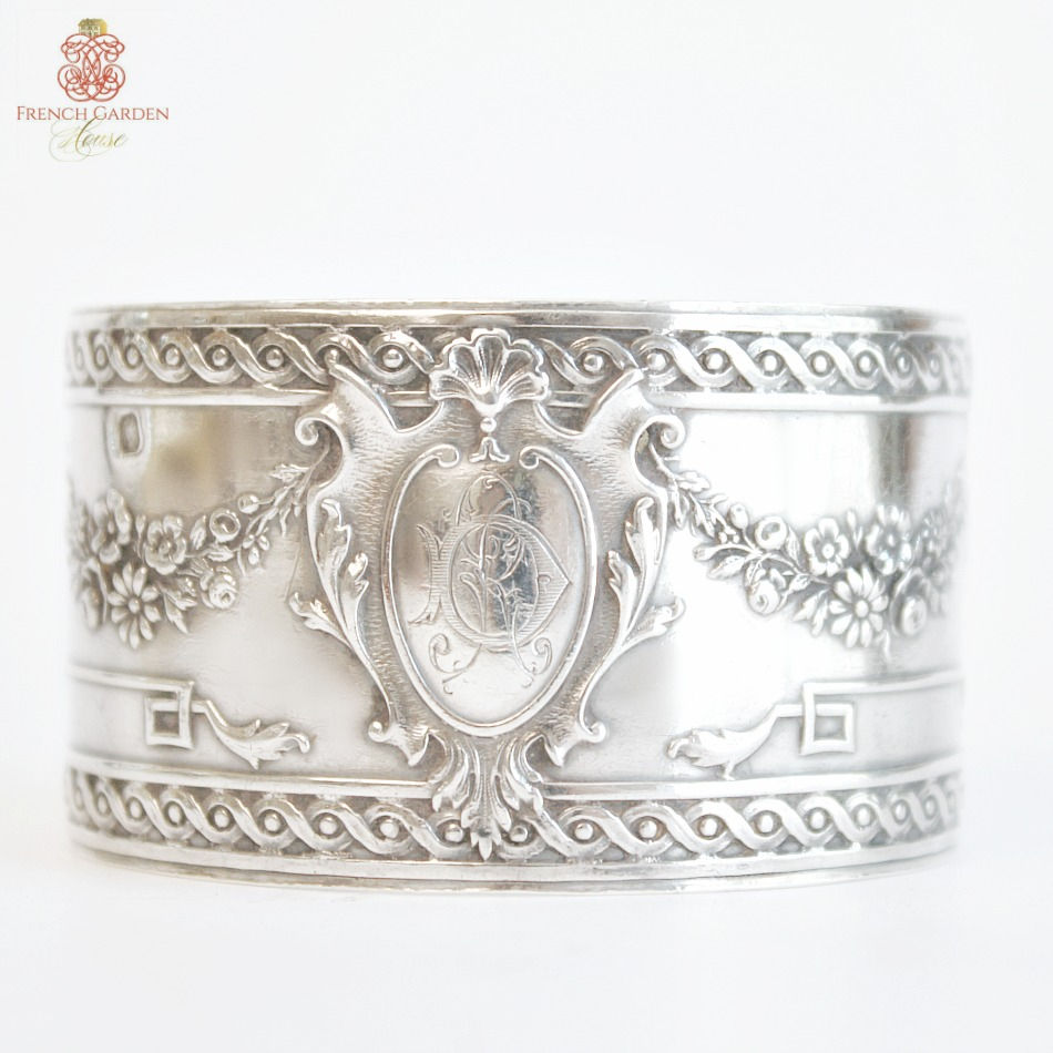 KDL Antique French Sterling Silver D R Monogrammed Cuff Bracelet