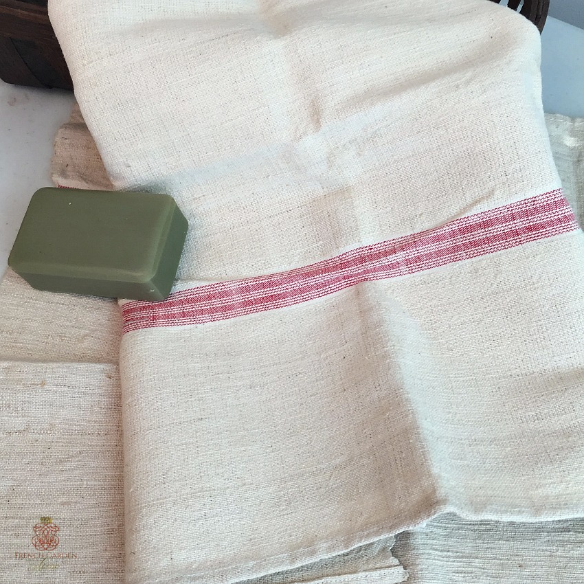 Antique French Hand Woven Linen & Flax Light Red Stripe Towel
