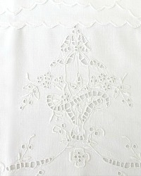 Antique Hand Embroidered Cutwork Floral Basket Pillow Case Pair