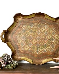 Large Italian Florentine Tray Large Green and Gold