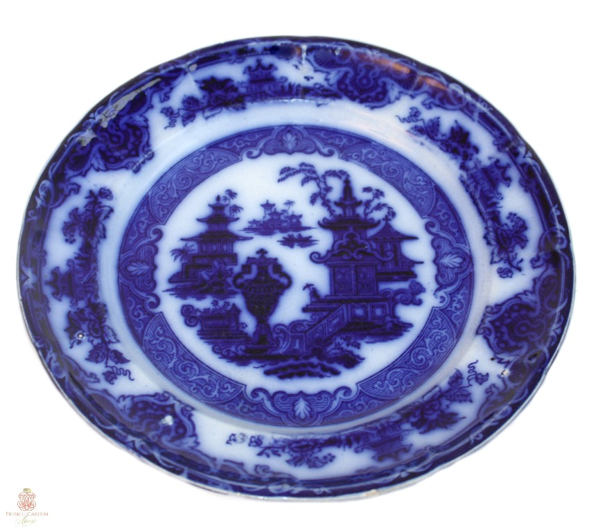 Antique English Decorative Flow Blue Chinoiserie Plate