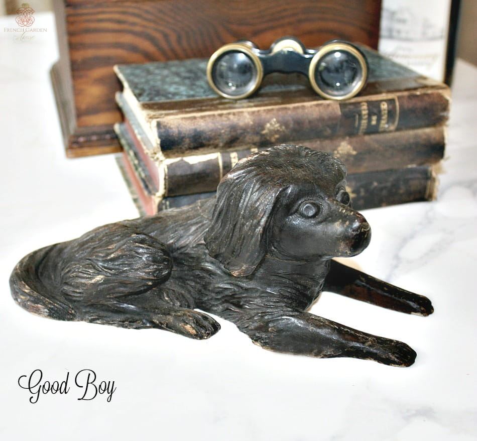 Antique Folk Art Hand Carved Wood Dog