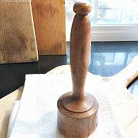 Antique French Wood Hand Carved Pestle Masher 2