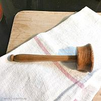 Antique French Wood Hand Carved Pestle Masher 4