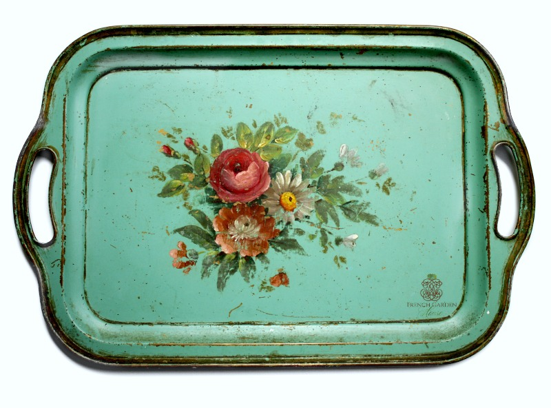 Antique Aqua French Country Shabby Toleware Tray