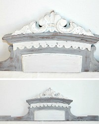 Antique French Grey Wood Architectural Salvage Pediment Header
