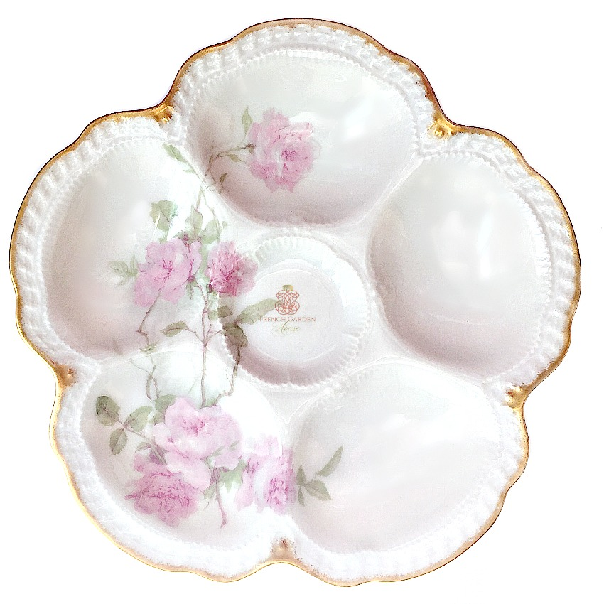 Antique French Limoges Baltimore Rose Oyster Plate